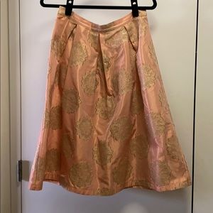 Topshop Pink and Gold brocade midi skirt Size 8